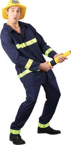 Mens Big Hose Brigade Fire Service Outfit (Blue)