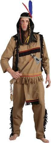 Mens Brave Indian Warrior Cowboys/Indians Outfit (Brown)