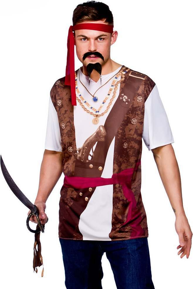 Mens Ez- Pirate Pirates Outfit - One Size (Brown, White)