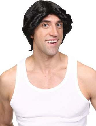 Mens Disco Fever Wig- Black Wigs - (Black)