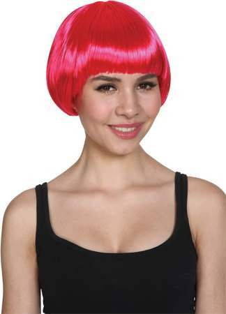 Ladies Short Bob Wig - Hot Pink Wigs - (Pink)