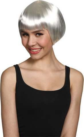 Ladies Short Bob Wig - White Wigs - (White)