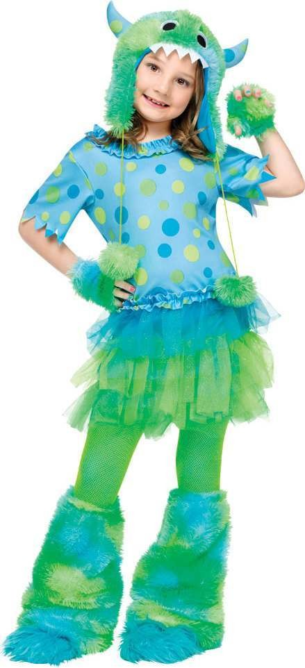 Girls F/World Monster Miss Halloween Outfit - (Green, Blue)