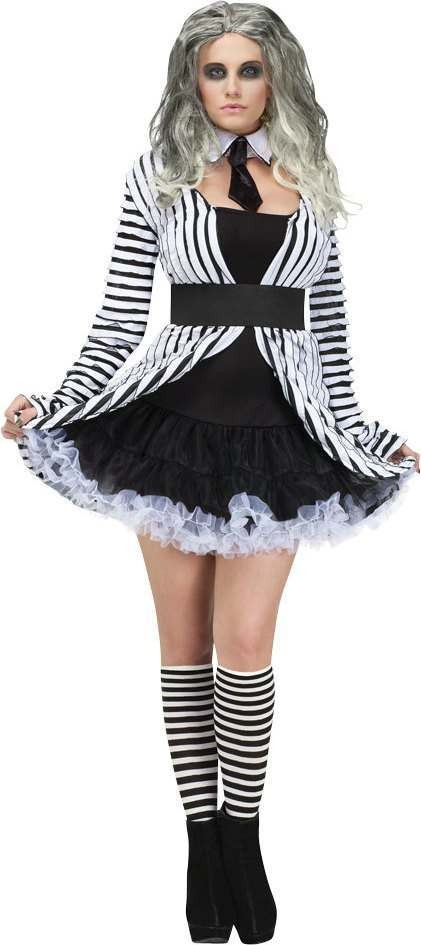 Ladies F/World Ghostess Halloween Outfit - (Black, White)