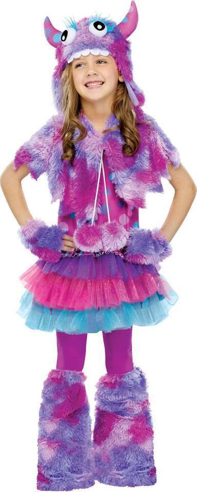 Girls F/World Polka Dot Monster Monster Outfit - (Purple)