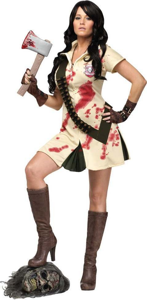 Ladies F/World Zombie Hunter Halloween Outfit - (Cream, Black)