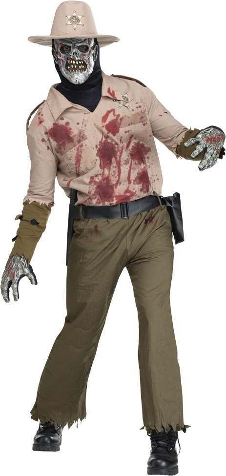 Mens Zombie Sherrif Halloween Outfit - One Size (Green, White)