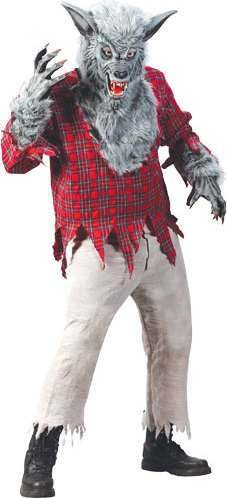Mens F/World Werewolf Halloween Outfit - One Size (Red, Black)