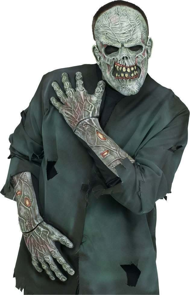 Adult Unisex F/World Zombie Gloves With Forearm Gloves - (Green, Grey)