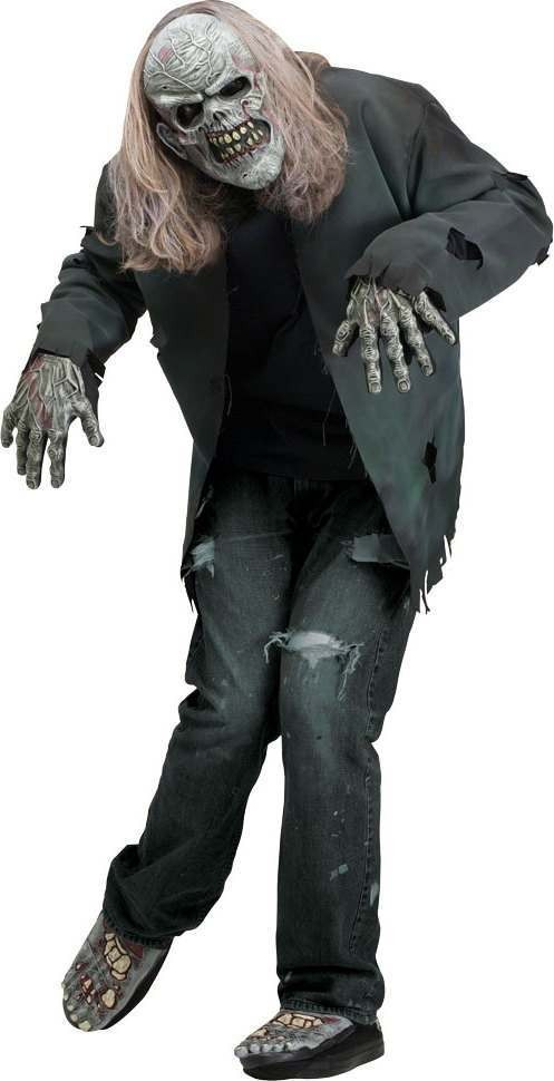 Adult Unisex F/World Instant Zombie Kit -Mask/Gloves/Feet - (Grey)