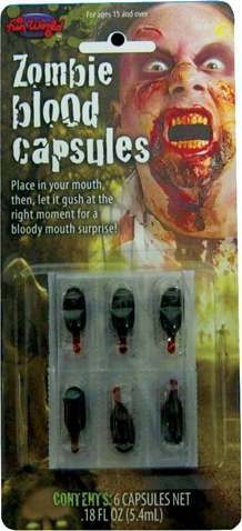 Adult Unisex Zombie Blood Capsules Accessories