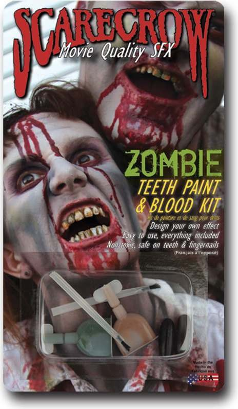 Scarecrow Zombie Teeth Paint & Blood Kit Accessories
