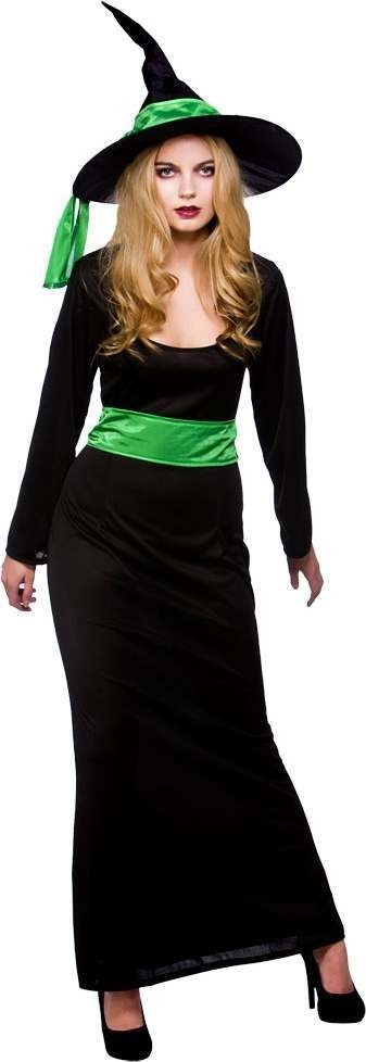 Ladies Wicked Witch Halloween Outfit - (Black, Green)