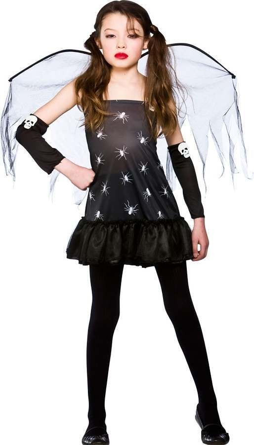 Girls Midnight Skull Fairy Halloween Outfit - (Black)