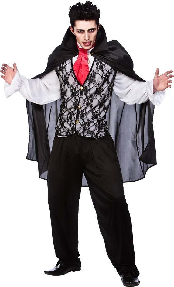 Mens Vampire Prince Of Darkness Halloween Outfit (Black, White)