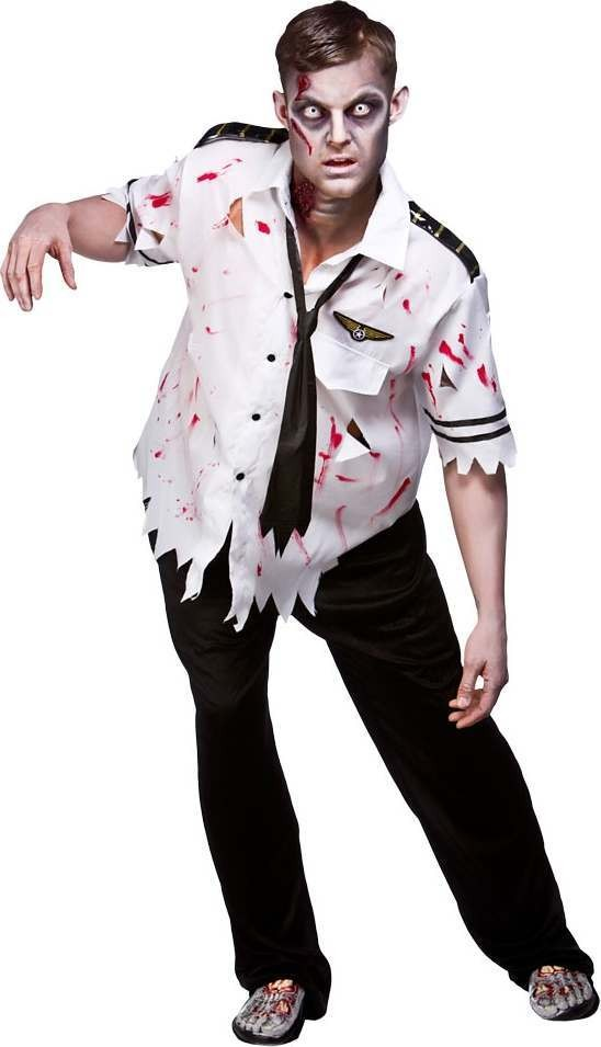Mens Zombie Crash Landing Halloween Outfit (White)