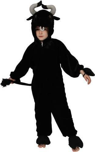 Kids Unisex Black Bull Animal Outfit - One Size (Black)