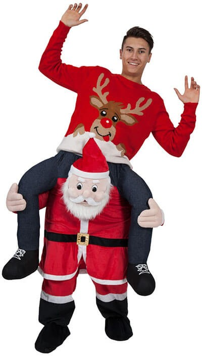 Adults Plush Carry Me Santa Fancy Dress Costume