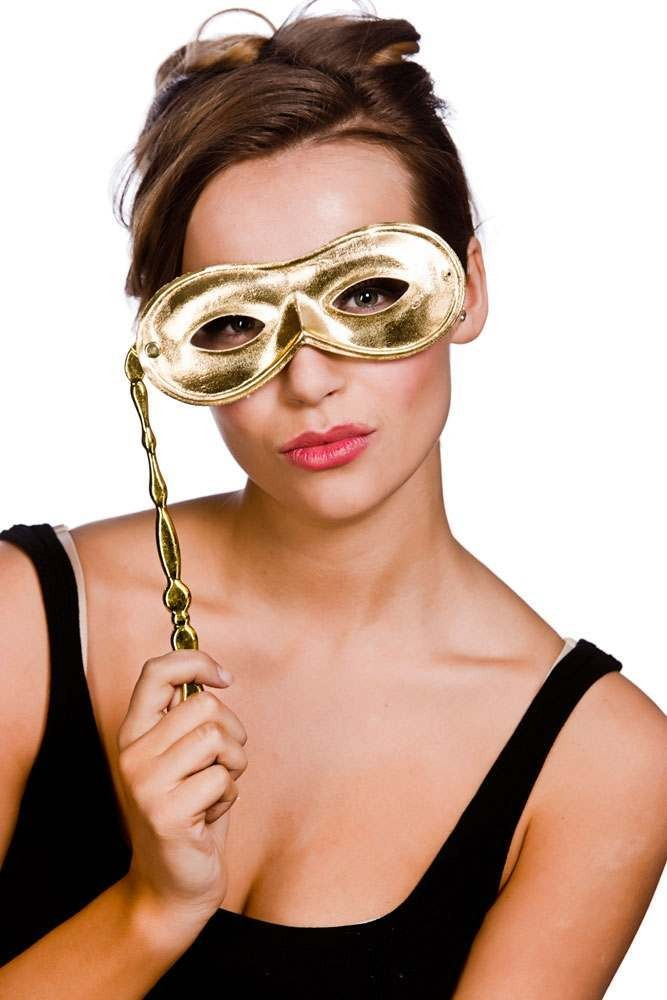 Adult Unisex Metalic Eyemask With Handle - Gold Eyemasks - (Gold)