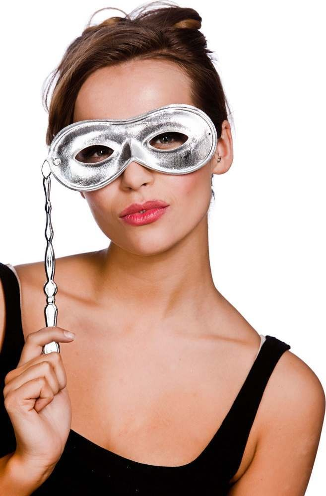 Adult Unisex Metalic Eyemask With Handle - Silver Eyemasks - (Silver)