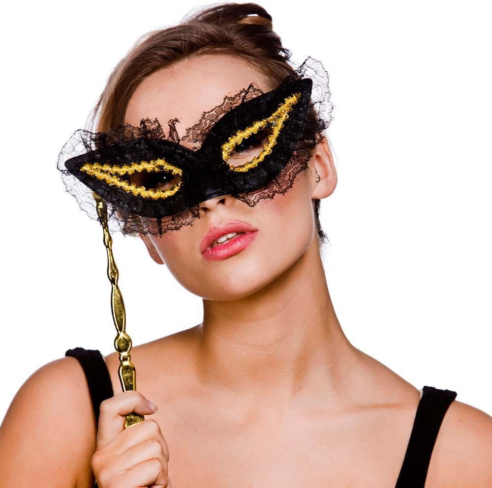 Adult Unisex Eyemask With Handle - Lace/Black/ Gold Eyemasks - (Black, Gold)