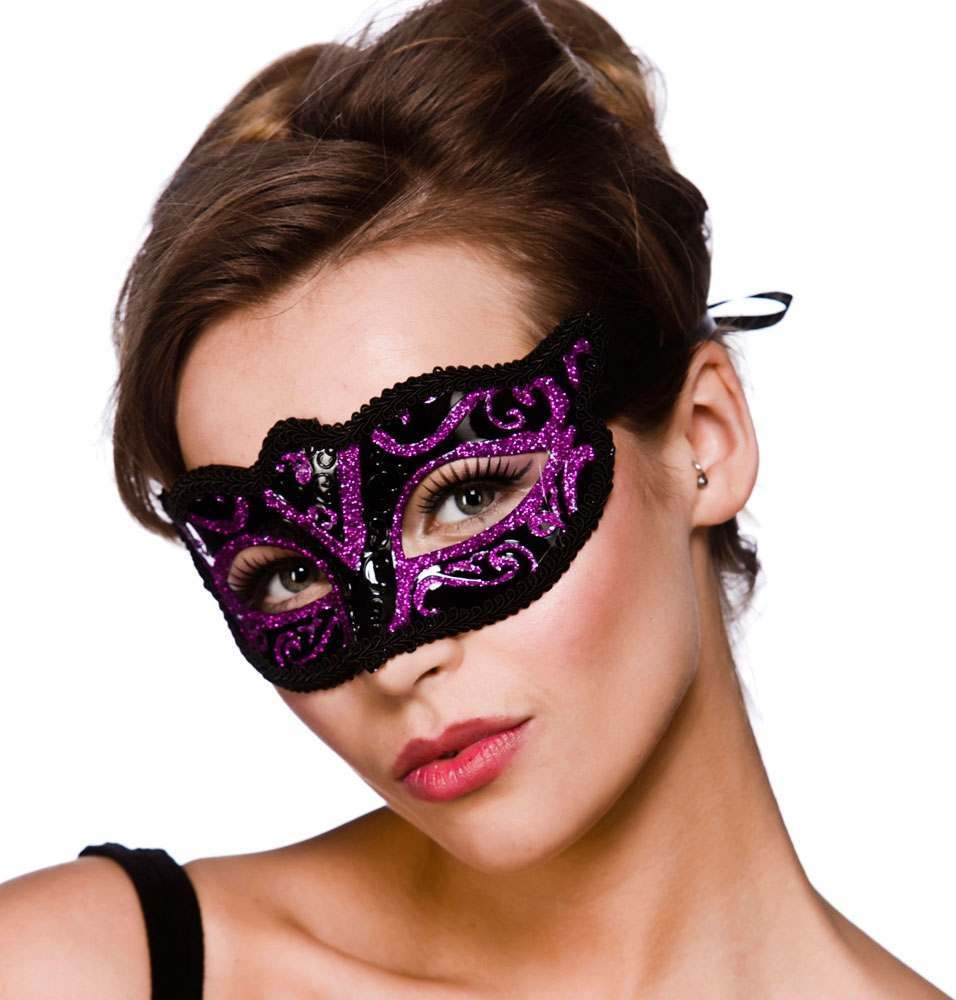 Adult Unisex Verona Eyemask - Purple Glitter Eyemasks - (Purple)