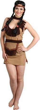 Ladies Sexy Native American Girl Cowboys/Native Americans Outfit - (Brown)