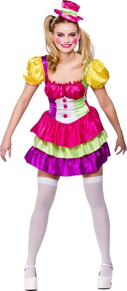 Ladies Cute Clown Clowns Outfit - (Multicolour)