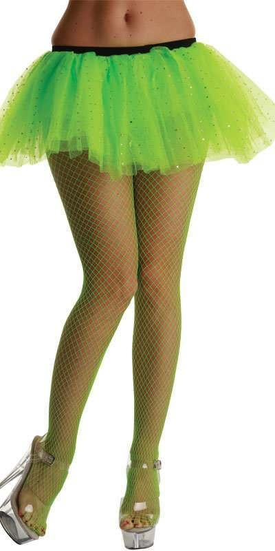 Micro Diamond Tights / Neon Green - Fancy Dress Ladies