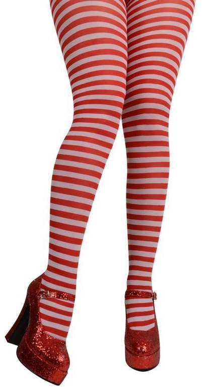 Ladies Red & White Candy stripe Tights Tights - (Red,White)