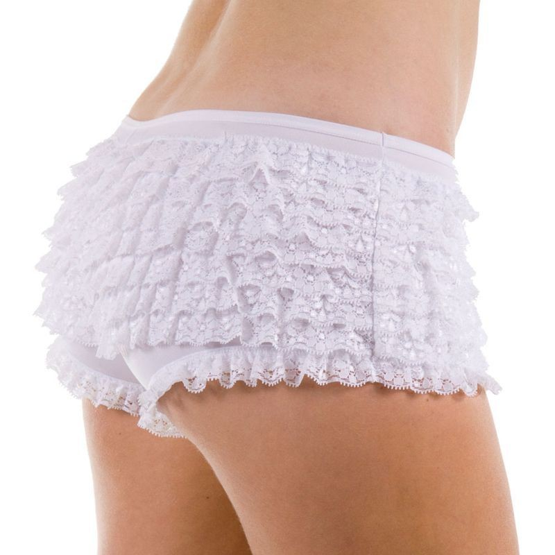 9 Layer Ruffle Shorts- White