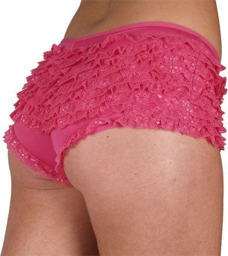 9 Layer Ruffle Shorts- Hot Pink - Size 10-12 S Ladies