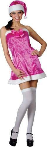 Pretty Pink Santa Fancy Dress Costume Ladies (Christmas)