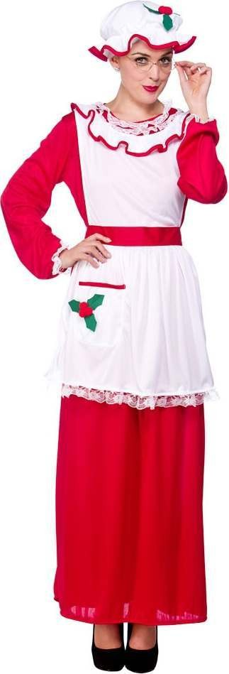 Mens Mrs Santa Clause Christmas Outfit -  (Red,White)