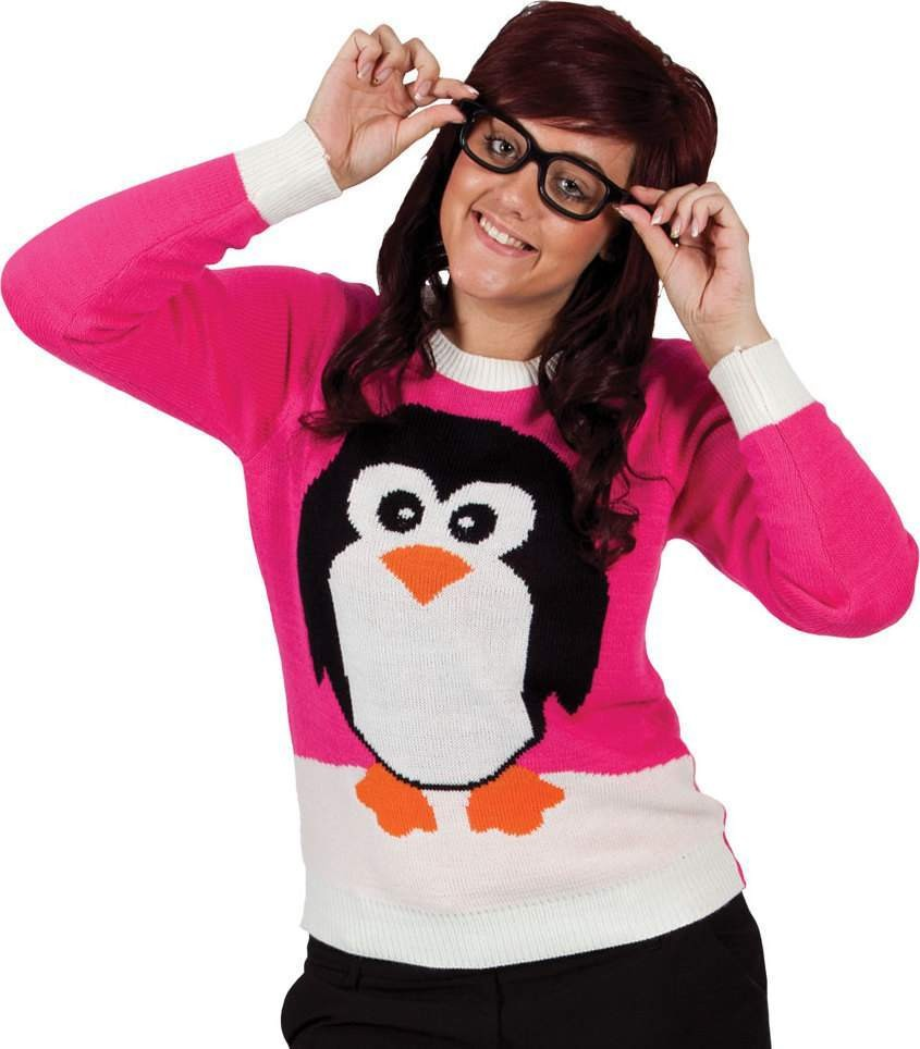 Ladies Crimbo Jumper - Pink / Penguin Christmas - (Pink)