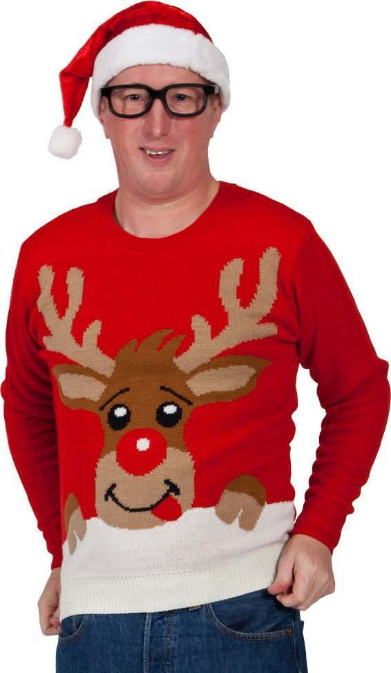 Mens Crimbo Jumper - Red / Reindeer Christmas (Red)