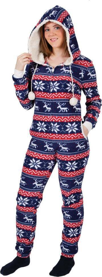 Ladies Crimbo One Piece - Red/Blue Pattern  Christmas - (Red, Blue)