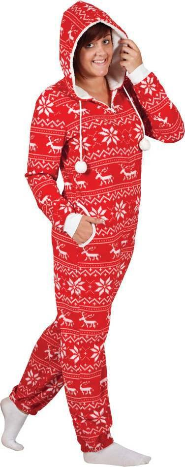Ladies Crimbo One Piece - Red/White Pattern  Christmas - (Red,White)
