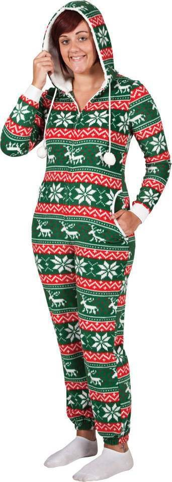 Ladies Crimbo One Piece - Red/Green Pattern Christmas Other -