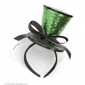 Green Green Glitter Mini Top Hat With Headband