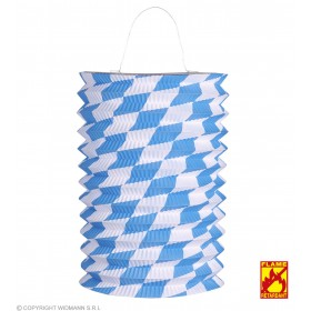 Blue & White Bavarian Paper Lantern 28cm Fancy Dress Decoration