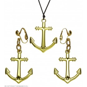 Gold Anchor Necklace And Earrings Set Sailor Fancy Dress Accessory