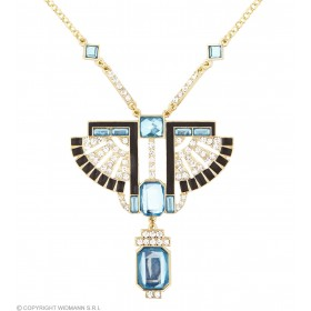 Gold Egyptian Pharaoh Necklace With Strass & Topaz Gems