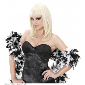 Feather Boa Bicolour 180Cm White/Black - Fancy Dress