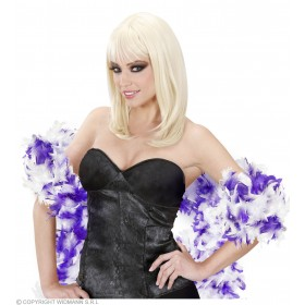 Feather Boa Bicolour 180Cm Purp/White - Fancy Dress