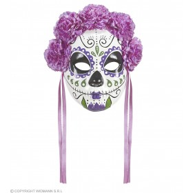 Ladies White/Purple Day Of The Dead Half Face Mask Halloween Fancy Dress Accessory