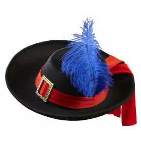 Real Look Black Musketeer Hat Child Size Fancy Dress