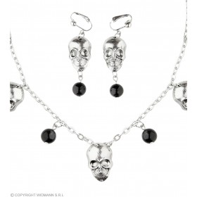 Silver Skull Necklace & Earrings Set Fancy Dress Accessory