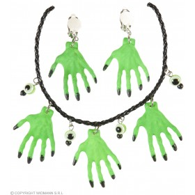 Green Witch Hands Necklase & Earrings Set Halloween Fancy Dress Accessory