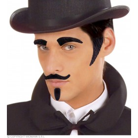 Eyebrows Sideburns Tash & Goatee Black Fancy Dress